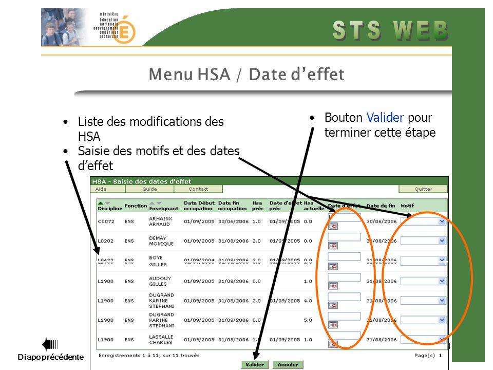 Menu HSA / Date d'effet Bouton Valider pour terminer cette étape