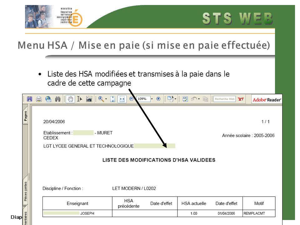 Menu HSA / Mise en paie (si mise en paie effectuée)