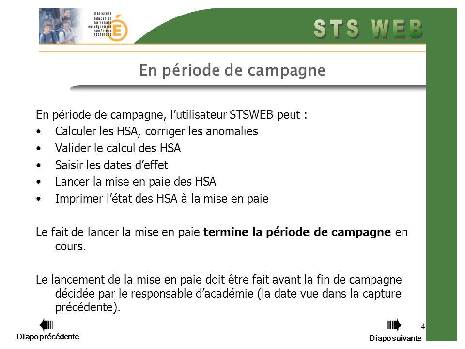 En période de campagne En période de campagne, l'utilisateur STSWEB peut : Calculer les HSA, corriger les anomalies.