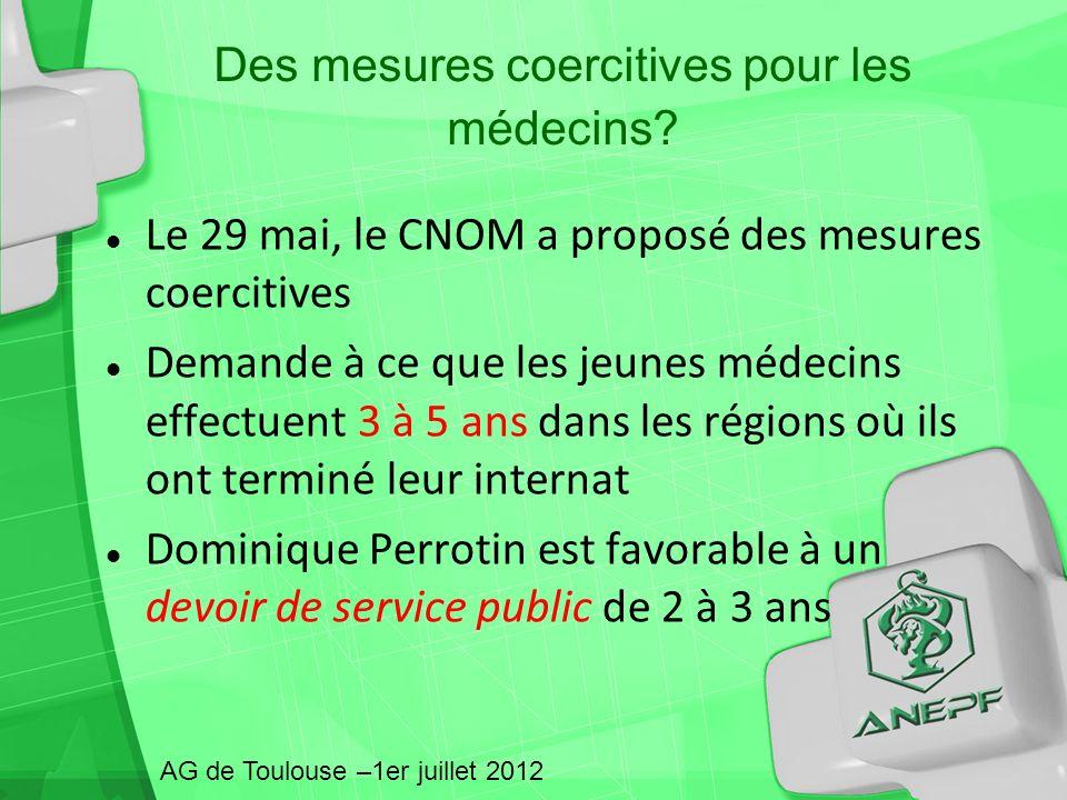 Des mesures coercitives pour les médecins