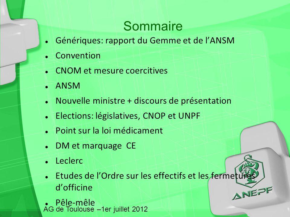 Sommaire Génériques: rapport du Gemme et de l'ANSM Convention