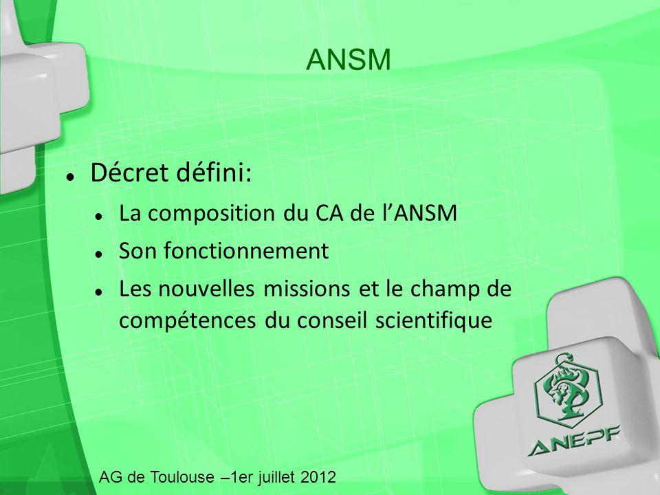 ANSM Décret défini: La composition du CA de l'ANSM Son fonctionnement