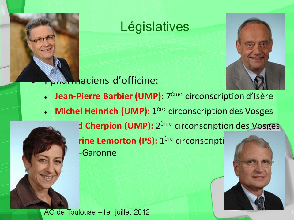 Législatives 4 pharmaciens d'officine: