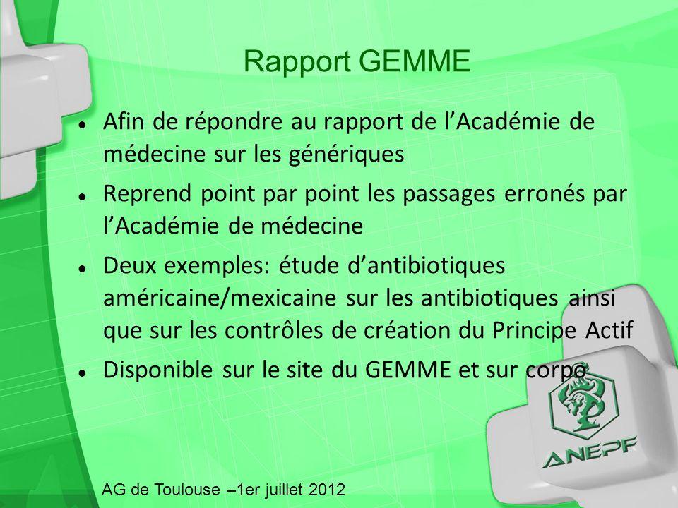 Rapport GEMME Afin de répondre au rapport de l'Académie de médecine sur les génériques.