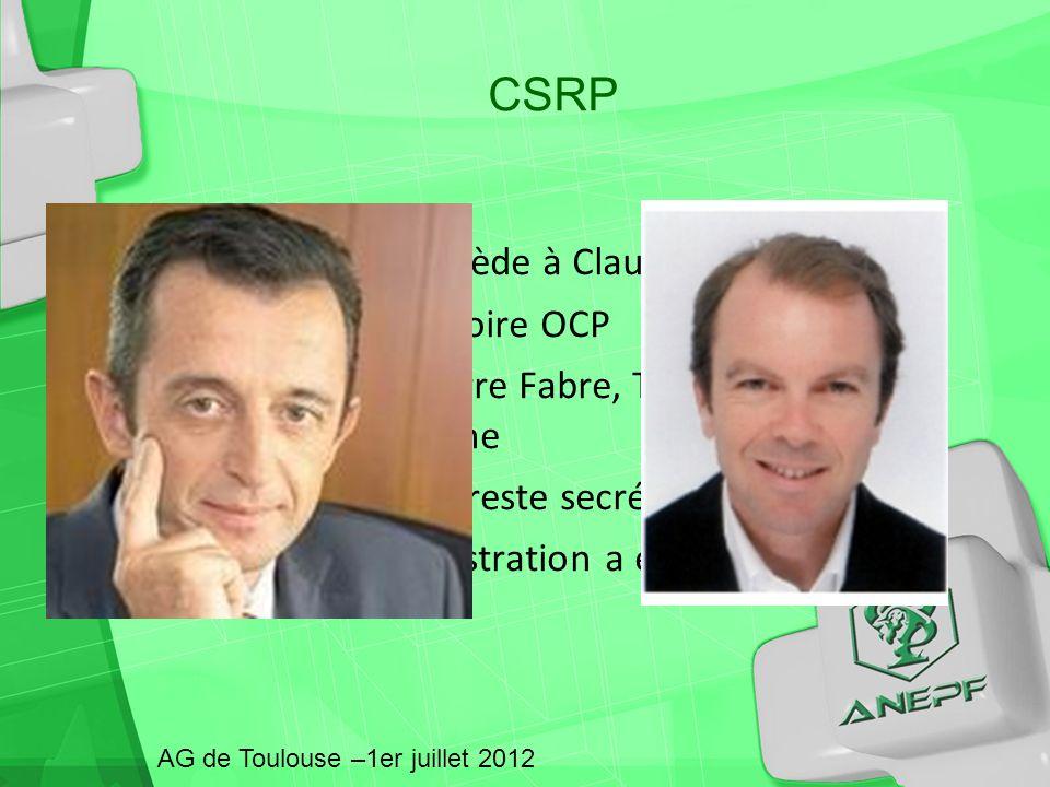 CSRP Hubert Olivier succède à Claude Castells