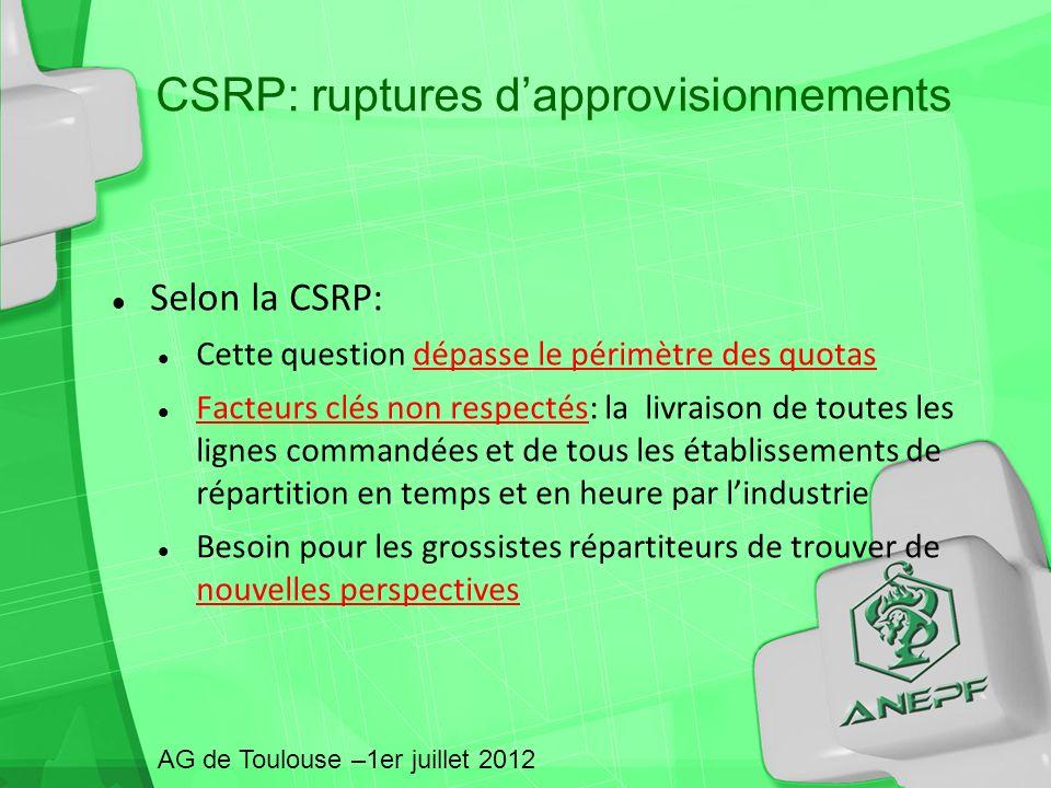 CSRP: ruptures d'approvisionnements