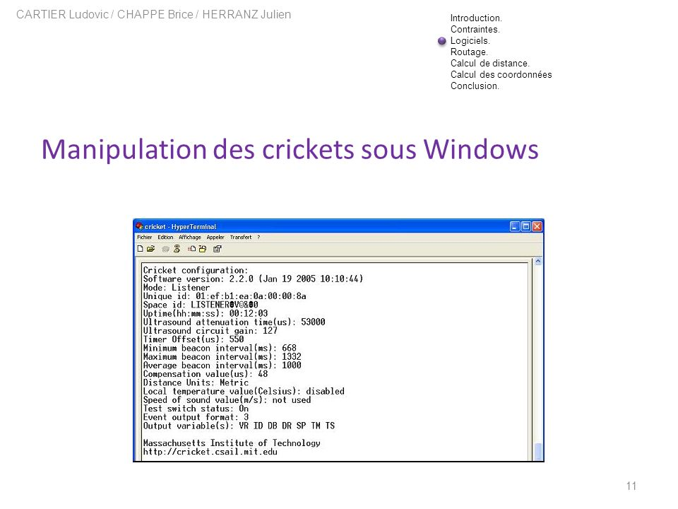 Manipulation des crickets sous Windows
