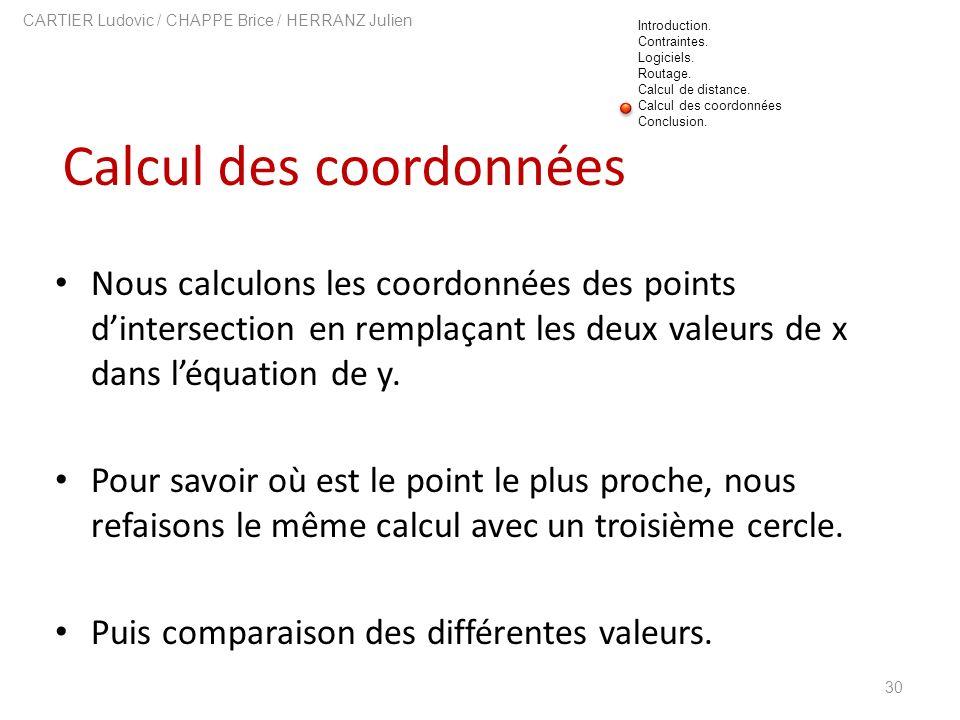 Calcul des coordonnées