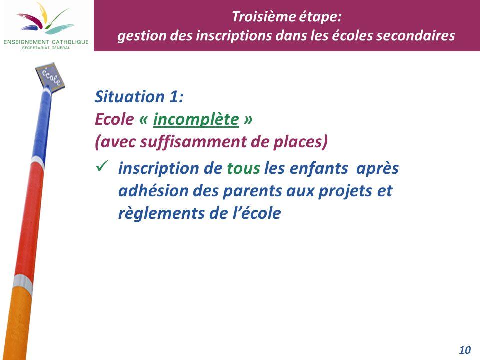 Troisième étape: gestion des inscriptions dans les écoles secondaires