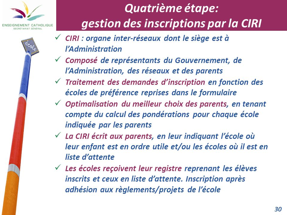 Quatrième étape: gestion des inscriptions par la CIRI