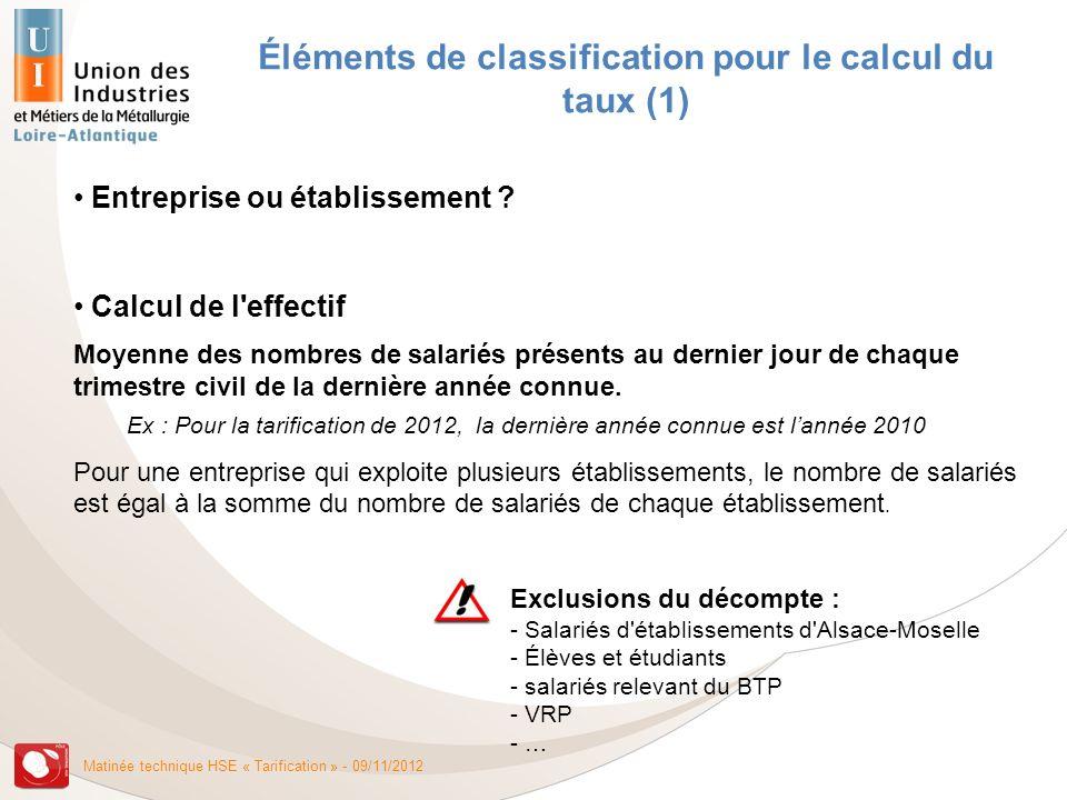 Éléments de classification pour le calcul du taux (1)
