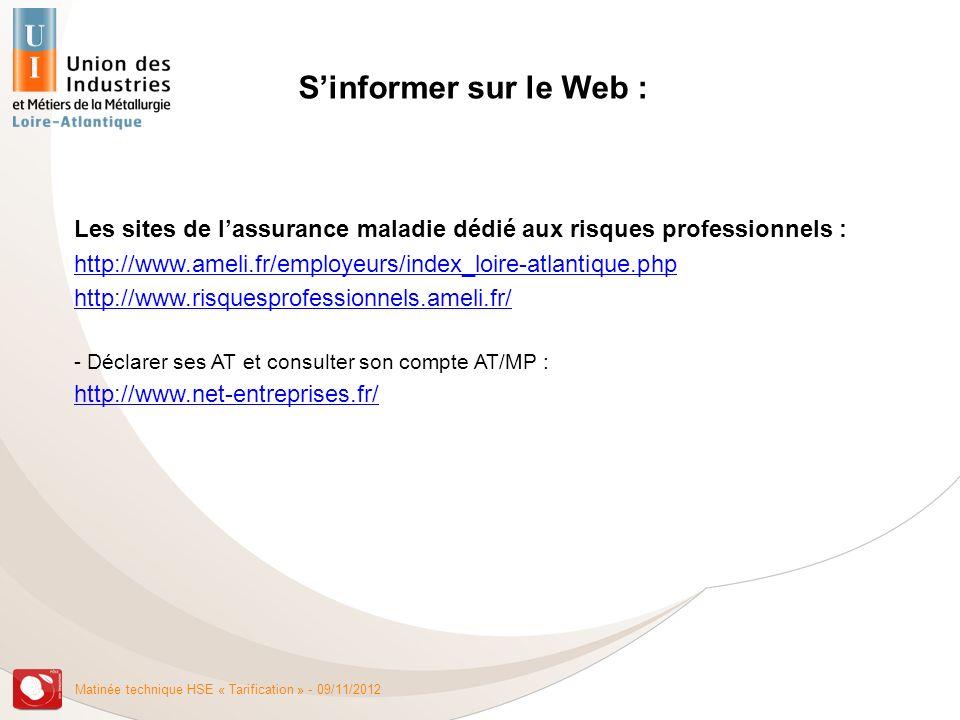S'informer sur le Web : Les sites de l'assurance maladie dédié aux risques professionnels :