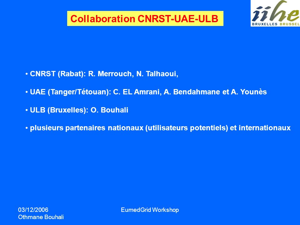 Collaboration CNRST-UAE-ULB