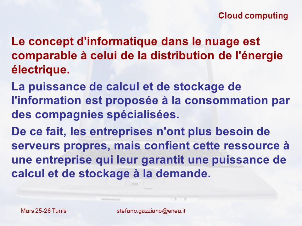 Cloud computing Le concept d informatique dans le nuage est comparable à celui de la distribution de l énergie électrique.