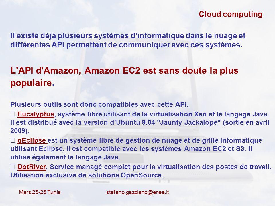 L API d Amazon, Amazon EC2 est sans doute la plus populaire.