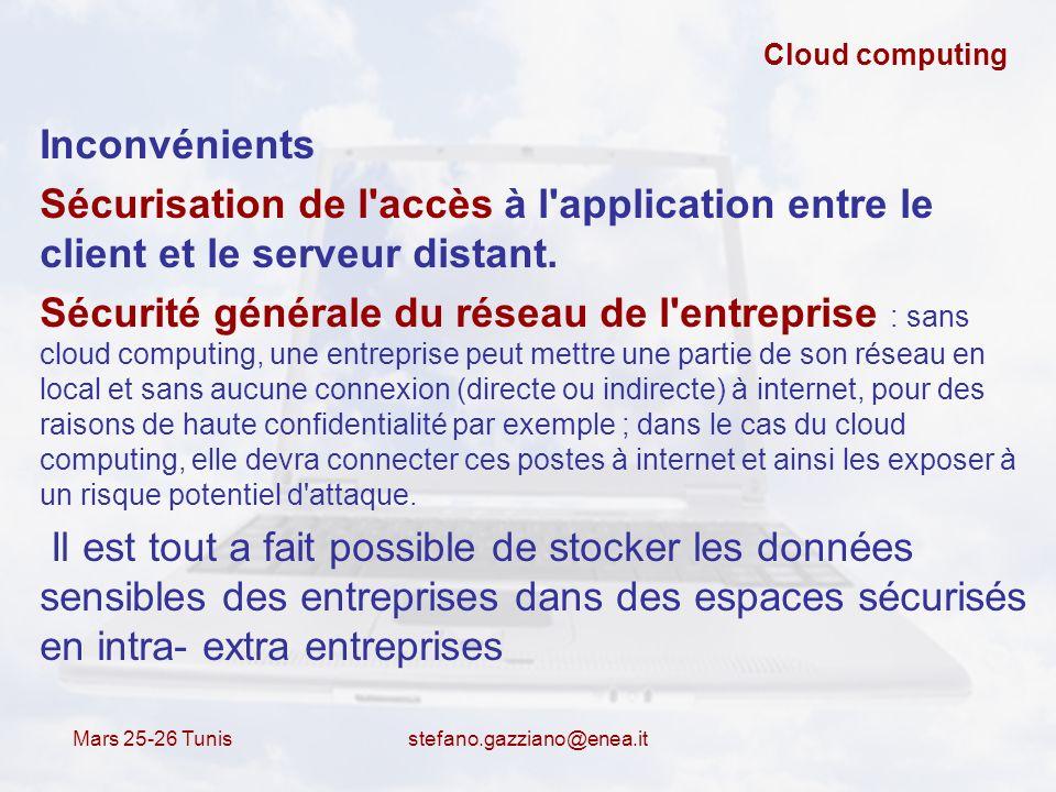 Cloud computing Inconvénients. Sécurisation de l accès à l application entre le client et le serveur distant.