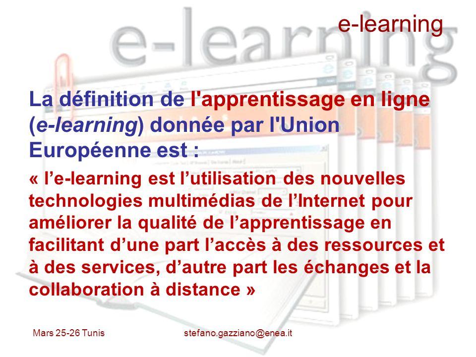 e-learning La définition de l apprentissage en ligne (e-learning) donnée par l Union Européenne est :