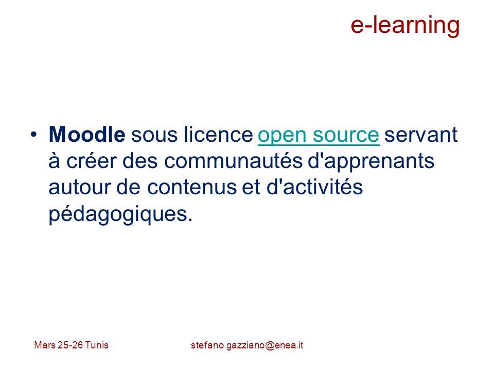 e-learning Moodle sous licence open source servant à créer des communautés d apprenants autour de contenus et d activités pédagogiques.