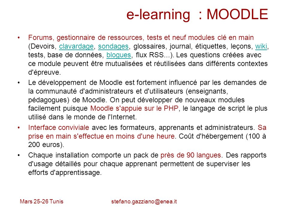 e-learning : MOODLE