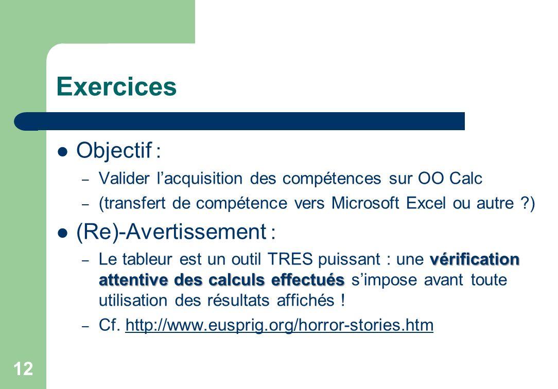Exercices Objectif : (Re)-Avertissement :