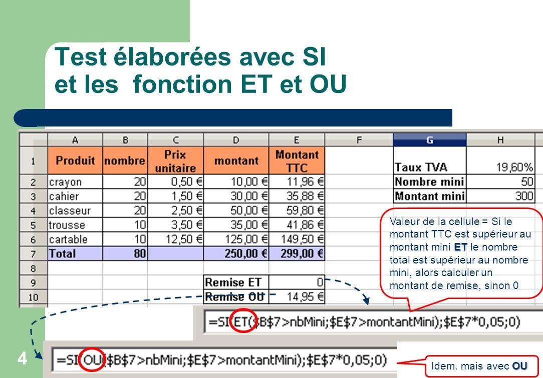 Test élaborées avec SI et les fonction ET et OU
