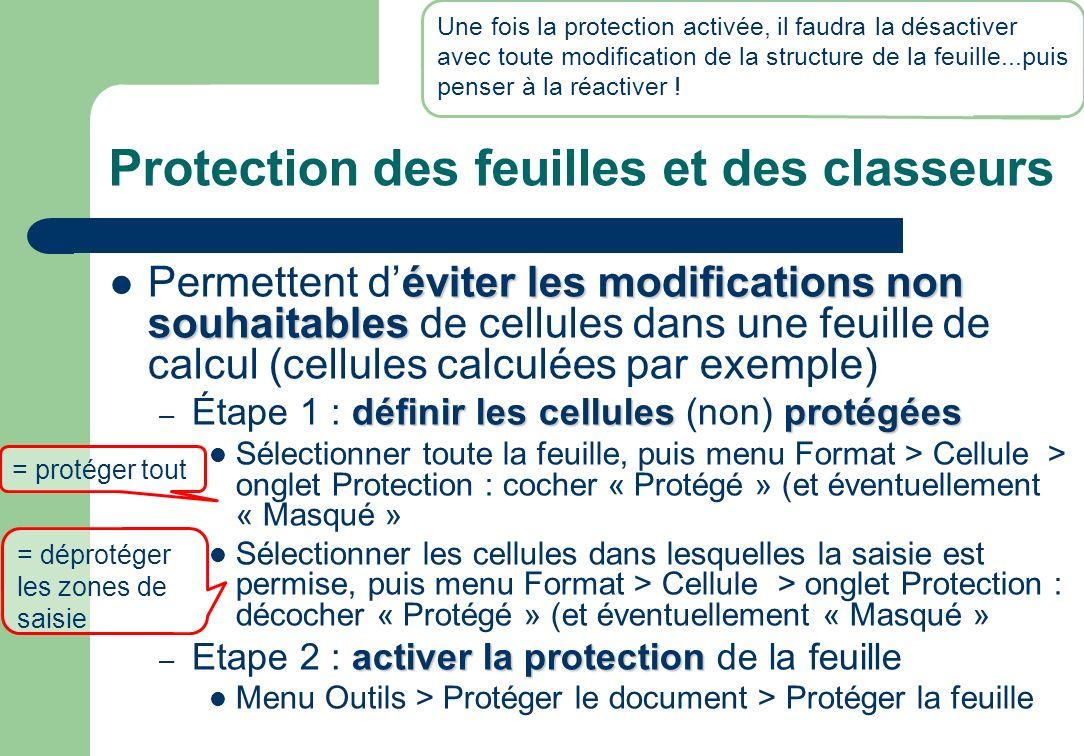 Protection des feuilles et des classeurs
