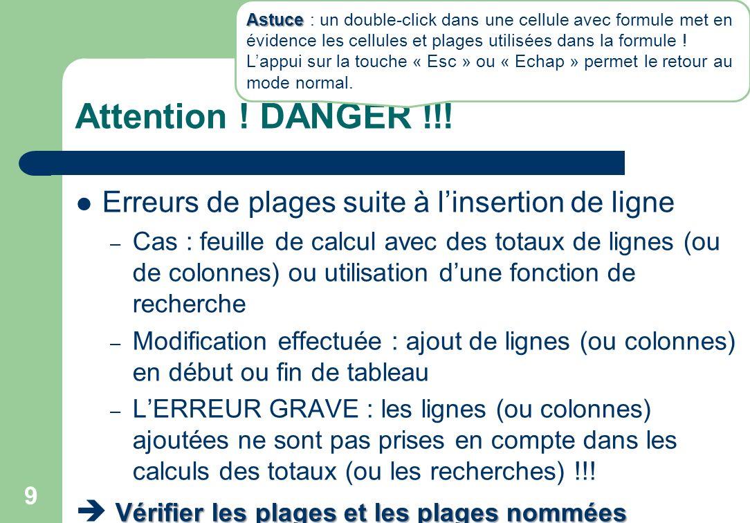 Attention ! DANGER !!! Erreurs de plages suite à l'insertion de ligne