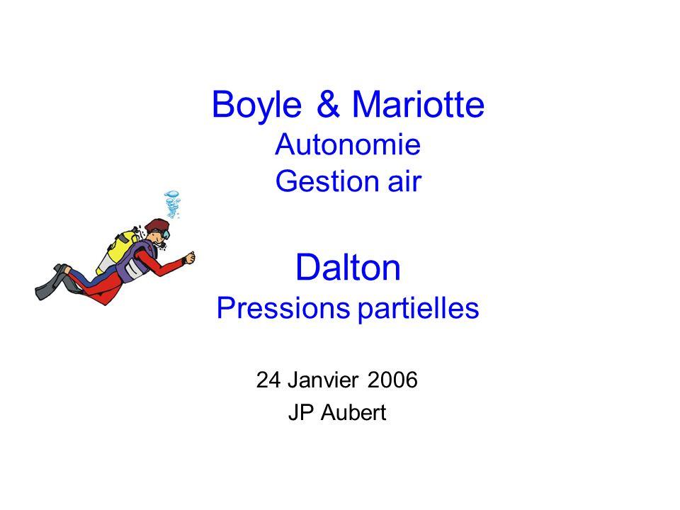 Boyle & Mariotte Autonomie Gestion air Dalton Pressions partielles