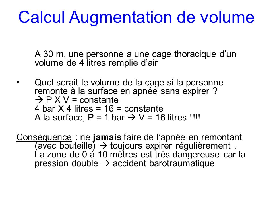 Calcul Augmentation de volume
