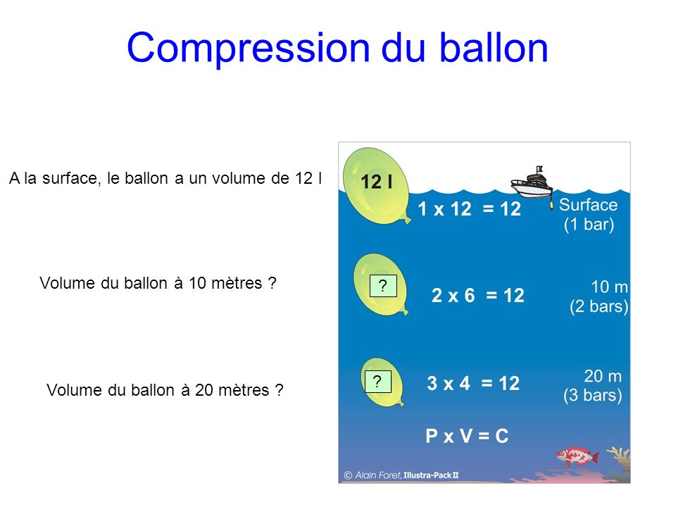 Compression du ballon A la surface, le ballon a un volume de 12 l