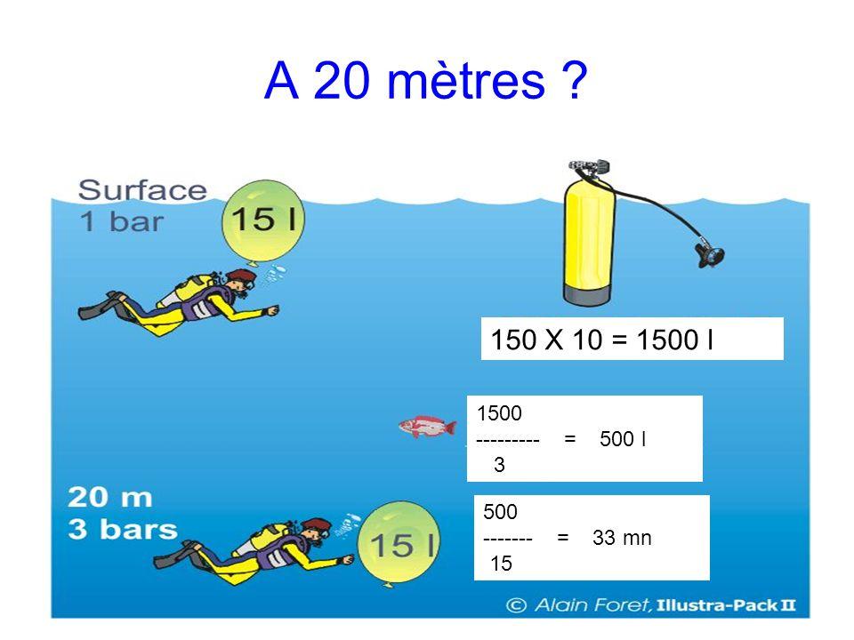 A 20 mètres 150 X 10 = 1500 l 1500 --------- = 500 l 3 500