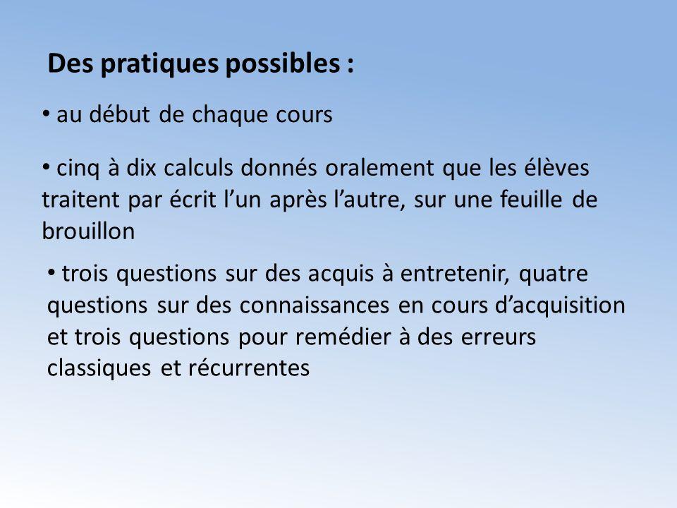 Des pratiques possibles :