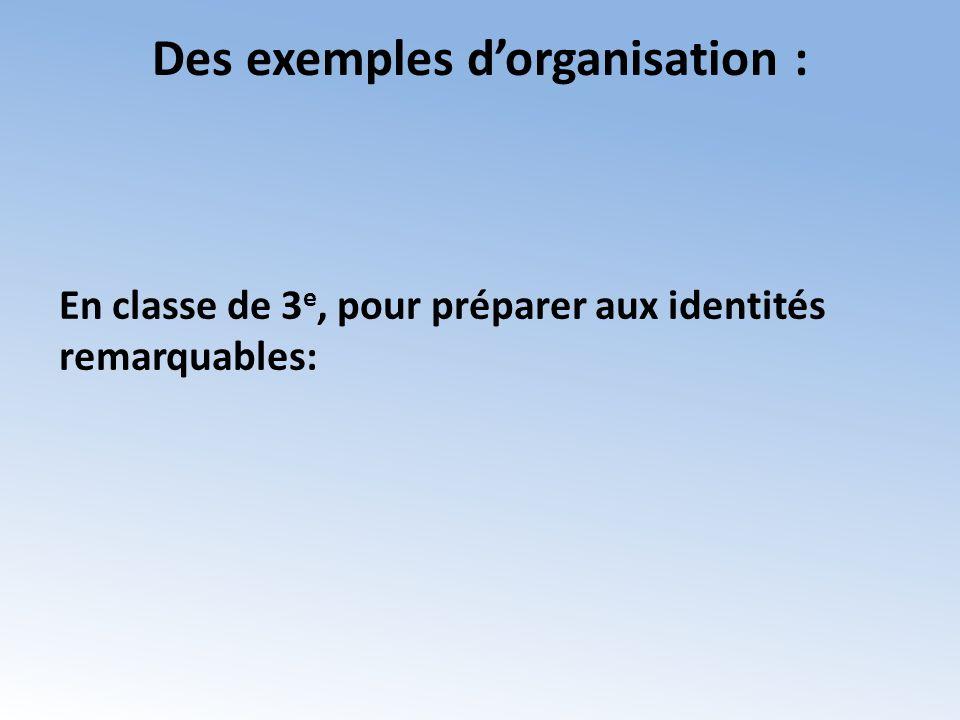 Des exemples d'organisation :
