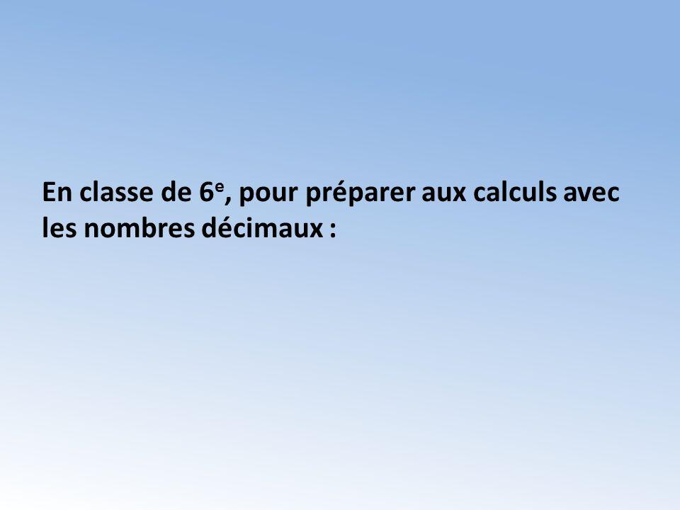 En classe de 6e, pour préparer aux calculs avec les nombres décimaux :