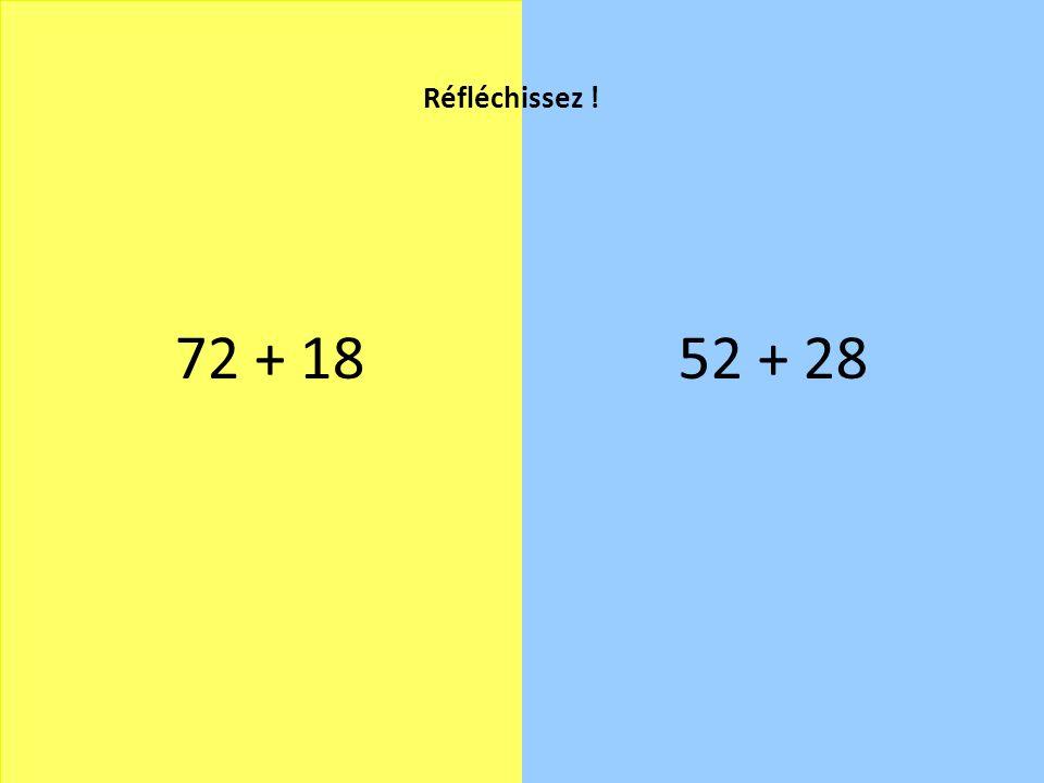 Réfléchissez ! 72 + 18 52 + 28