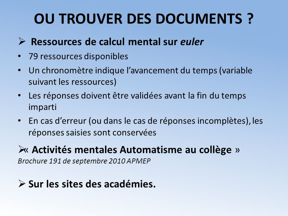 OU TROUVER DES DOCUMENTS