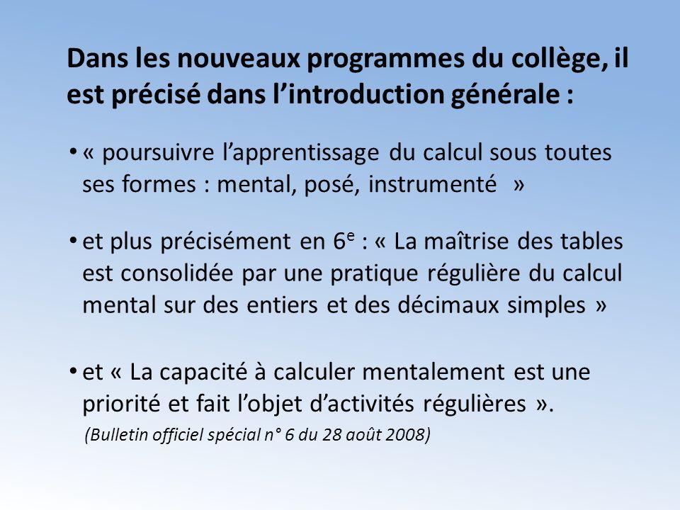 Dans les nouveaux programmes du collège, il est précisé dans l'introduction générale :