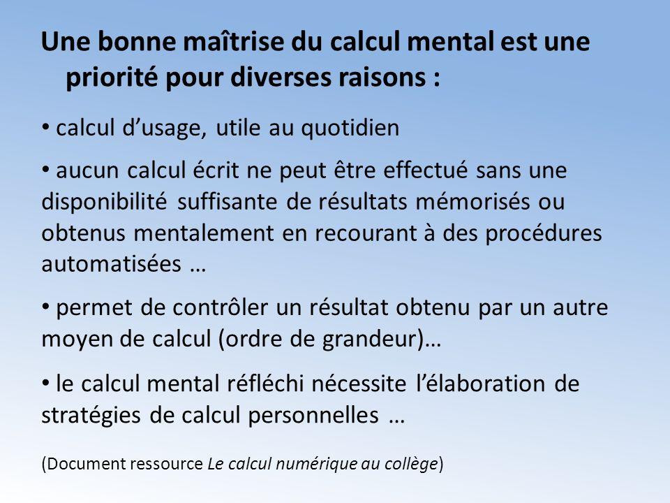 Une bonne maîtrise du calcul mental est une priorité pour diverses raisons :