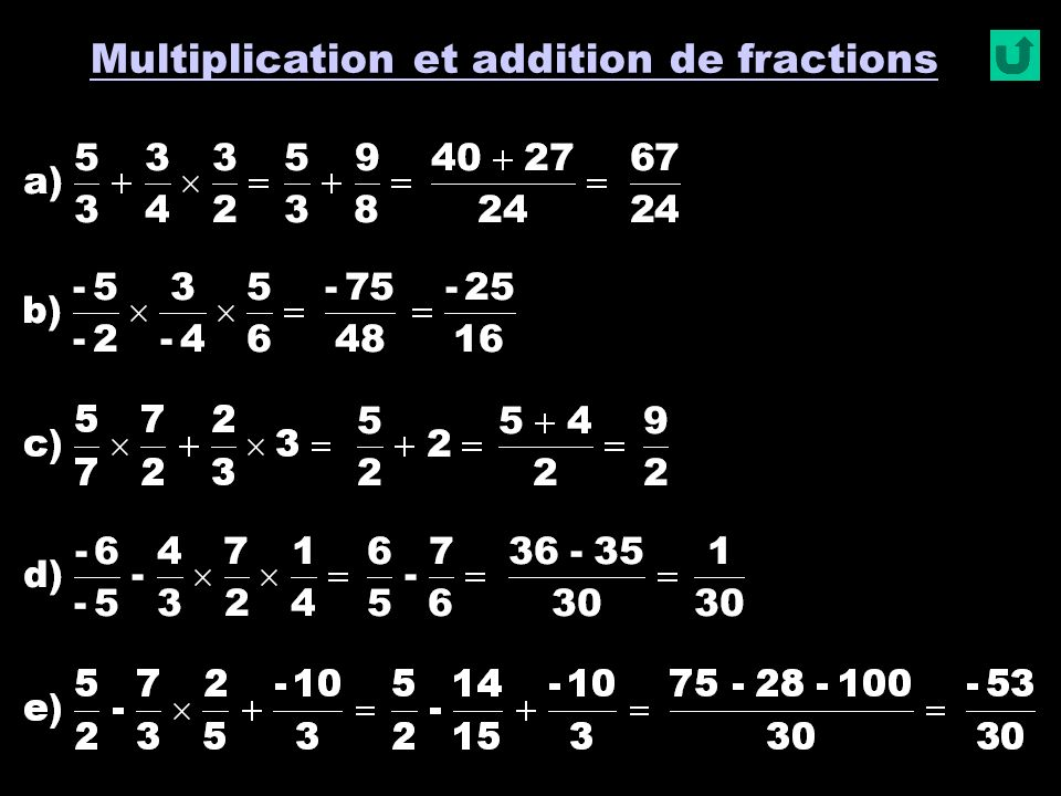 Multiplication et addition de fractions