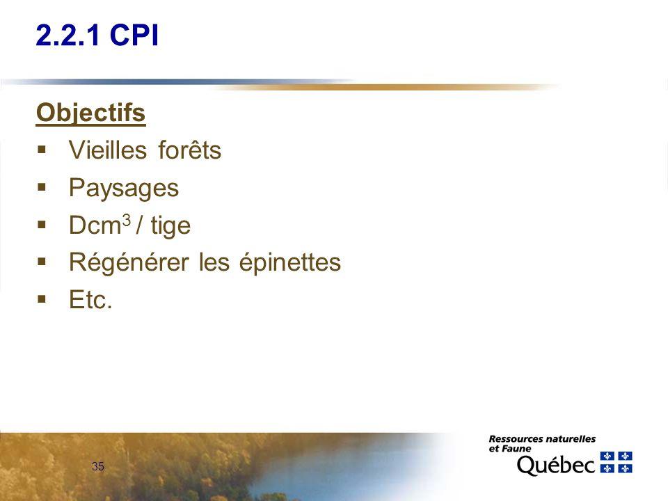 2.2.1 CPI Objectifs Vieilles forêts Paysages Dcm3 / tige