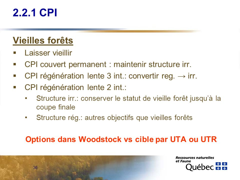 Options dans Woodstock vs cible par UTA ou UTR