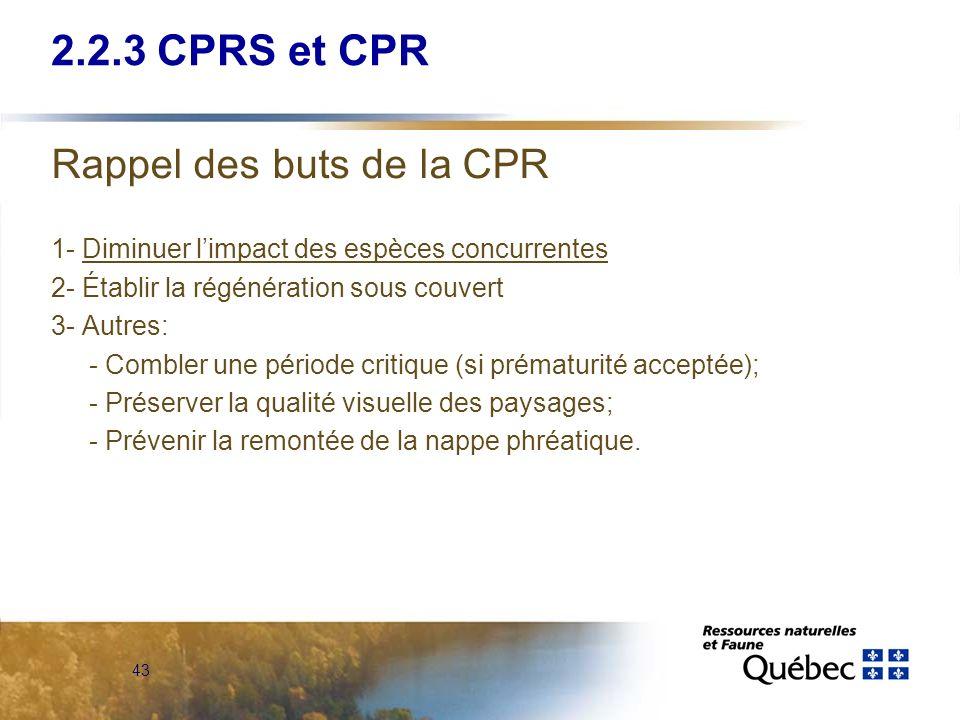 2.2.3 CPRS et CPR Rappel des buts de la CPR