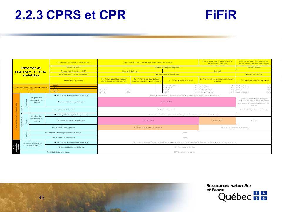 2.2.3 CPRS et CPR FiFiR