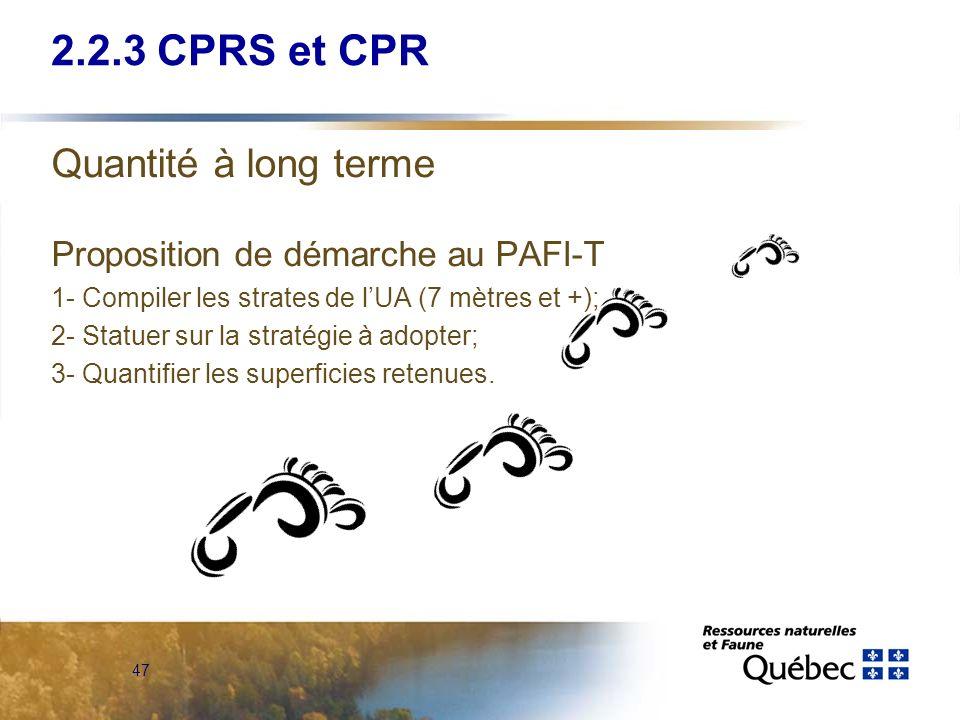 2.2.3 CPRS et CPR Quantité à long terme