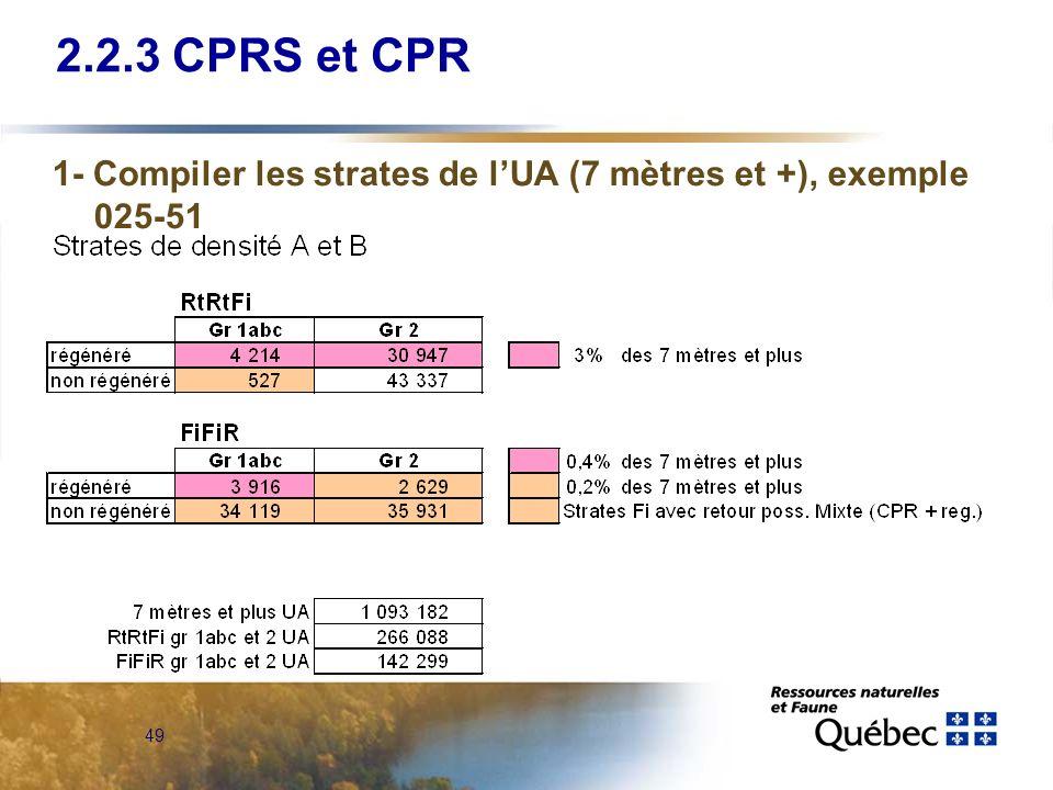 2.2.3 CPRS et CPR 1- Compiler les strates de l'UA (7 mètres et +), exemple 025-51