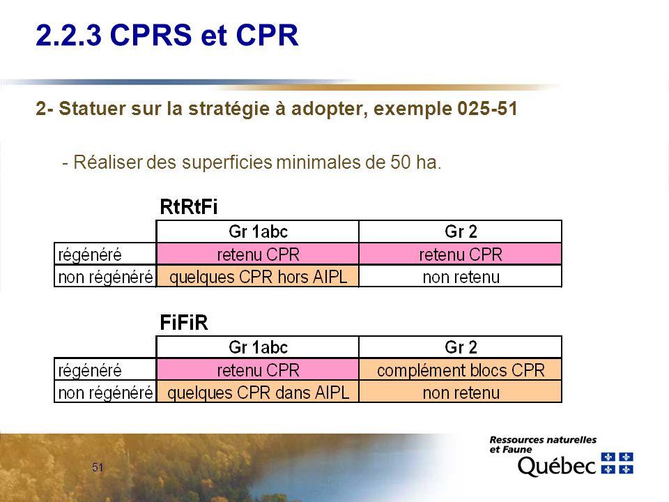 2.2.3 CPRS et CPR 2- Statuer sur la stratégie à adopter, exemple 025-51.