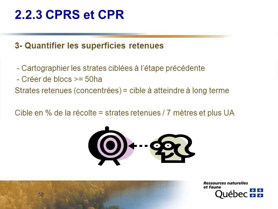 2.2.3 CPRS et CPR 3- Quantifier les superficies retenues