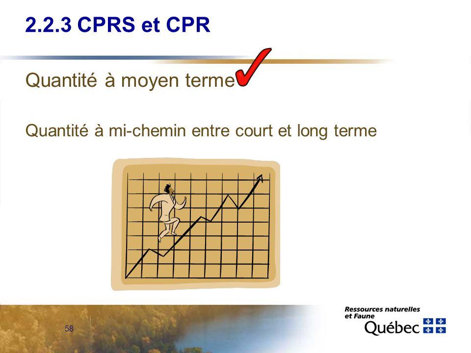 2.2.3 CPRS et CPR Quantité à moyen terme