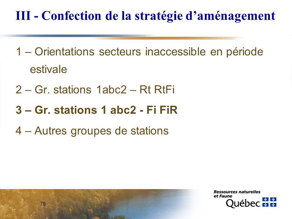 III - Confection de la stratégie d'aménagement