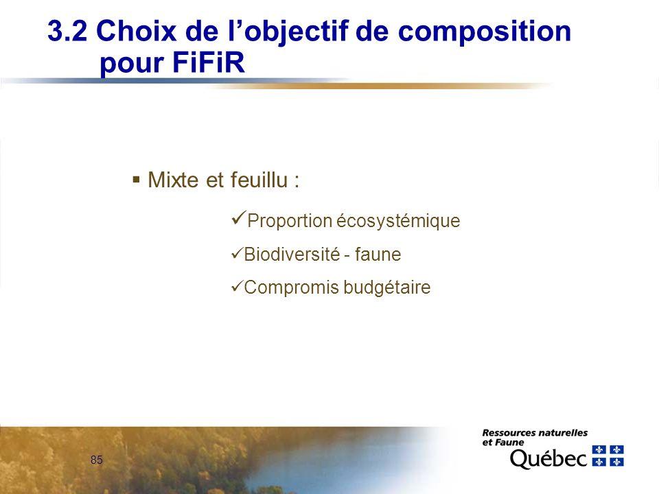3.2 Choix de l'objectif de composition pour FiFiR